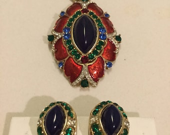 JEWELS of INDIA Unsigned Pendant and Earrings
