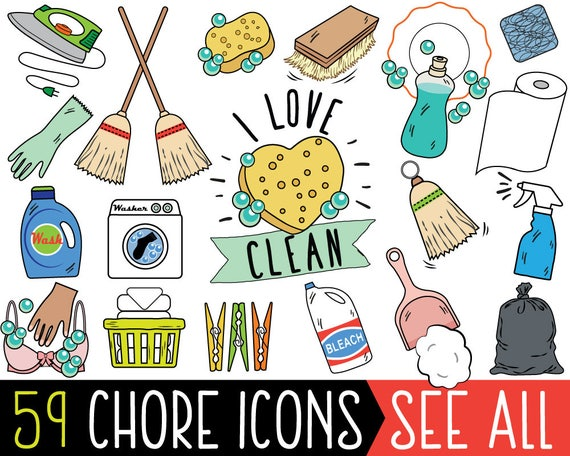 Chore Clipart JUMBO Bundle cleaning clipart printable chore