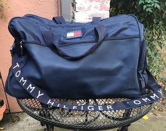 Vintage 90s Navy Blue Tommy Hilfiger Duffel Bag