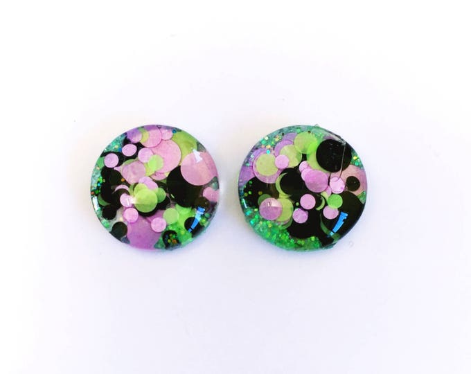 The 'Green Fairy' Glass Glitter Earring Studs
