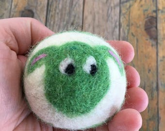 Green Sheep or Lamb, Felted Wool Toy Ball or Sculpture , Mini