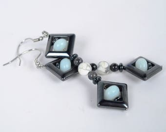 Hematite, Amazonite, Labradorite & Howlite Earrings (001497)