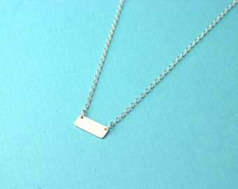 Tiny bar necklace - minimalist geometric bar, small bar necklace, delicate and dainty necklace, sterling silver bar