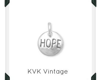 "Oxidized ""Hope"" Hand-Stamped Sterling Silver Charm"