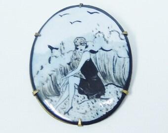 Art Deco Pin, Brooch, Pendant, Bathing Beauty