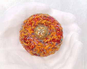 Sunset Inspired Basket - Unique Silk Tapestry Basket w/ Glass Floral Embellished Lid - Valentine's, Mother's Day, Wedding Anniversary Gift