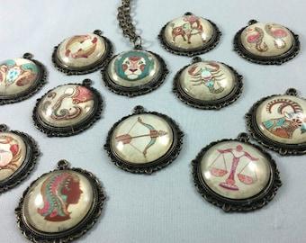 Antique Gold Zodiac Sign Pendant Cabochon Necklace