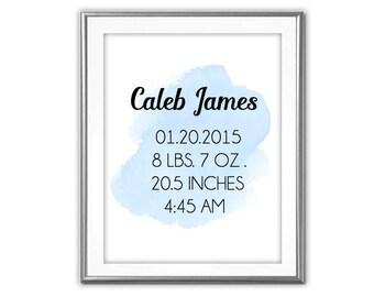 SALE-Baby Boy Birth Stats Blue Watercolor- Digital Print- Wall Art- Digital Designs- Home Decor- Birth Stats Printable- Baby Boy Nursery