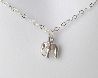 Silver Elephant Necklace,Tiny Silver Elephant Necklace, Good Luck Necklace, Elephant Necklace, Silver Necklace