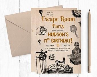 Escape Room Invitations, Escape Room Party, Escape Room invites, Escape Room Birthday Invitation, Mystery Birthday Party, Escape Room theme