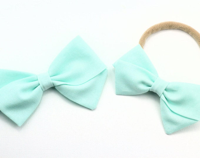 Blue Hair Bow -nylon headband for babies - hair clips and barrettes for girls