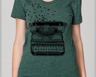 Writers Shirts for Women, Green shirt,  Typewriter Birds T Shirt, American Apparel Tee, Tshirt Womens, Gift for her, Gift for writer Lemon