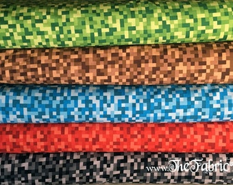 Bitmap by Michael Miller Cotton Woven by The Yard for Minecraft inspired projects (NOT Minecraft product)- TheFabricEdge