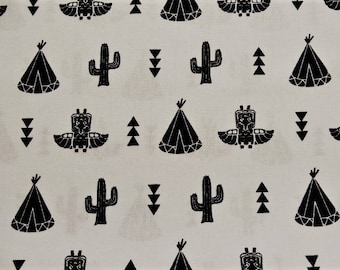 """""""Native American teepee, cactus"""" pattern cotton fabric white background"""
