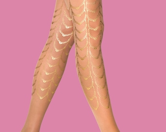 Gold tattoo, Cabaret, S-M, L-XL, gold tattoo tights/nylons/leggings/full lenght/sheer