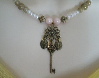 Key Necklace, boho jewelry bohemian jewelry gypsy jewelry hippie jewelry rockabilly pin up steampunk edwardian victorian boho chic necklace