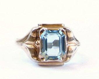 Vintage Clark & Combs Ring - 10k Yellow Gold and Sterling Silver Blue Glass Ring - Size 5 - Weight 1.9 Grams # 4295