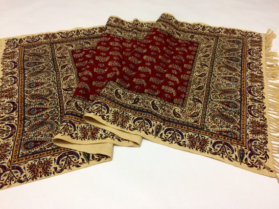 "Hand printed 50"" inches Red Table Runner- traditional handmade paisley cotton tapestry , natural dyes with tassels"