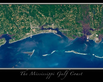 Gulf Coast Of Mississippi Satellite Poster Map