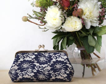 Champagne and Navy Camellia Lace Bridal Clutch | Mothers Clutch | Gift for her