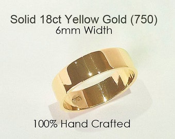 18ct 750 Solid Yellow Gold Ring Wedding Engagement Friendship Friend Flat Band NEW 6mm