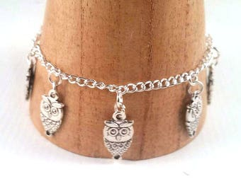 Silver owl Charm Bracelet - owl bracelet - owl jewellery set - owl earrings