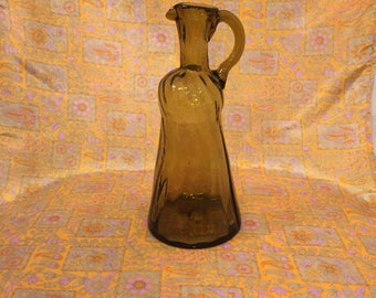 Vintage amber glass jug / pitcher