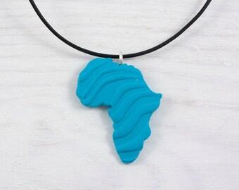 Africa necklace - Blue africa pendant - Adoption necklace  Ciondolo africa blue necklace