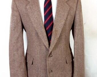 euc Haggar Gallery brown 100% Wool Tweed Blazer Sportcoat sz 42 S