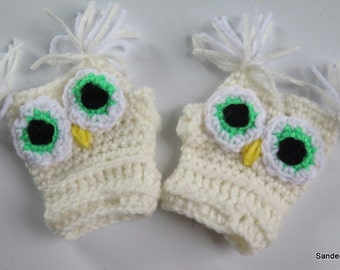Toddler Gloves , Crochet Fingerless Owl Gloves, White Owl Gloves , Kids Winter Mitten