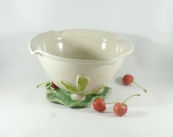 Ceramic Berry Bowl Colander Leaf Tray Handmade Ivory Fruit Bowl 9th Anniversary Gift pottery kitchen strainer, serving bowl gift sieve