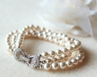 Pearl Bridal Bracelet Pearl Wedding Bracelet Three Strand Swarovski Pearl Bracelet Crystal Bridal Bracelet Pearl Bridal Jewelry