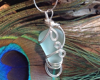 Sea Glass  - Necklace -  Unique Sea Foam Blue - wire wrapped jewellery - PEI - Pendant necklace - Not Sterling Silver