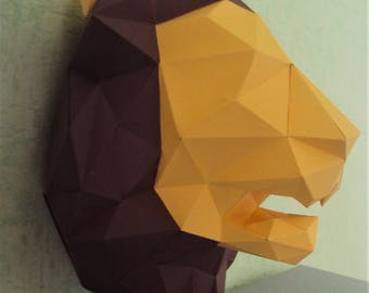 DIY Lion head 3D paper