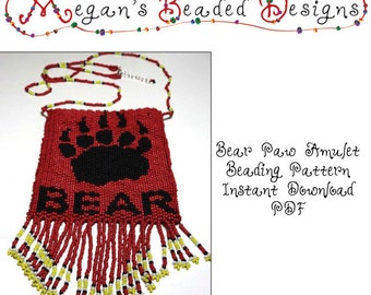 Beading Pattern Bear Paw Amulet or Tapestry Instant Download PDF for Peyote or Brick Stitch