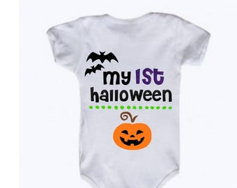 My First Halloween Baby bodysuit, My 1st Halloween, Baby's First Halloween, Baby's 1st Halloween, Pumpkin, Bats, Fall, Gift Halloween