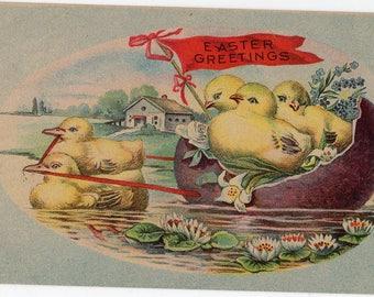 Easter vintage postcard, Easter Greetings,  ducklings vintage postcard, chicks, ducks, egg boat antique postcard