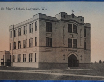 St. Mary's School Ladysmith Wisconsin Antique Postcard