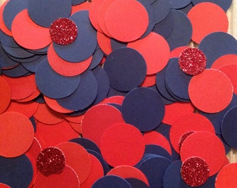 """New England Patriots Confetti 200+ inspired navy red table decor birthday party decoration 1"""" circle paper craft Handmade New"""