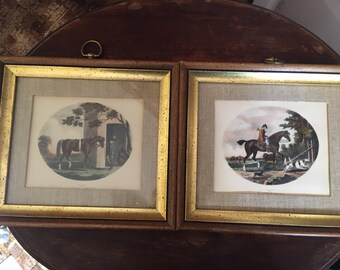 T Gooch antique horse hunting  lithographs (2) fantastic condition