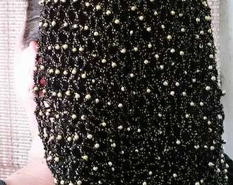 """Cotton/Metallic or Pearl Combination Snood with Beads on Every row-10"""" Long Length"""