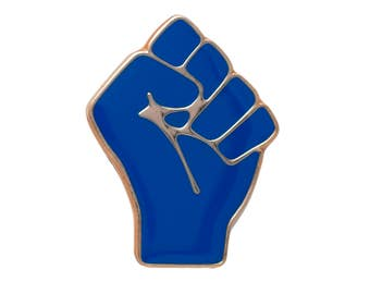 Blue Raised Fist of Solidarity Pin