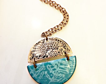 Hand-Etched and Enameled on Copper Pendant, Glass Enamel, Floral, Fern, Leaf Pattern, Pluma Pendant