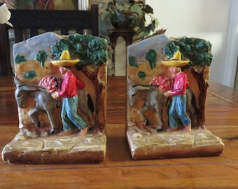 Very Rare Vintage Ceramic Peasant With Donkey Bookends
