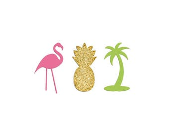 Flamingo  Confetti, Palm Tree, Pineapple Confetti Pieces, Gold Glitter, Party Favor & Decoration, Birthday Parties, Tropical Pool Party