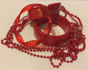 Vintage Red Early Plastic Jewellery Lot, Clamper Bangle, Flapper Necklace, Spacer