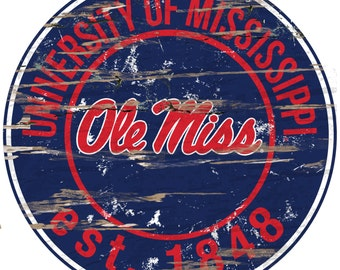 "NCAA University of Mississippi Ole Miss Round Distressed Established Wood Sign 24"" Diameter"