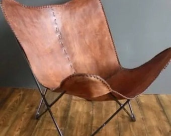 Hand Made Butterfly Chair , Leather Chair  Rich  Medium Brown