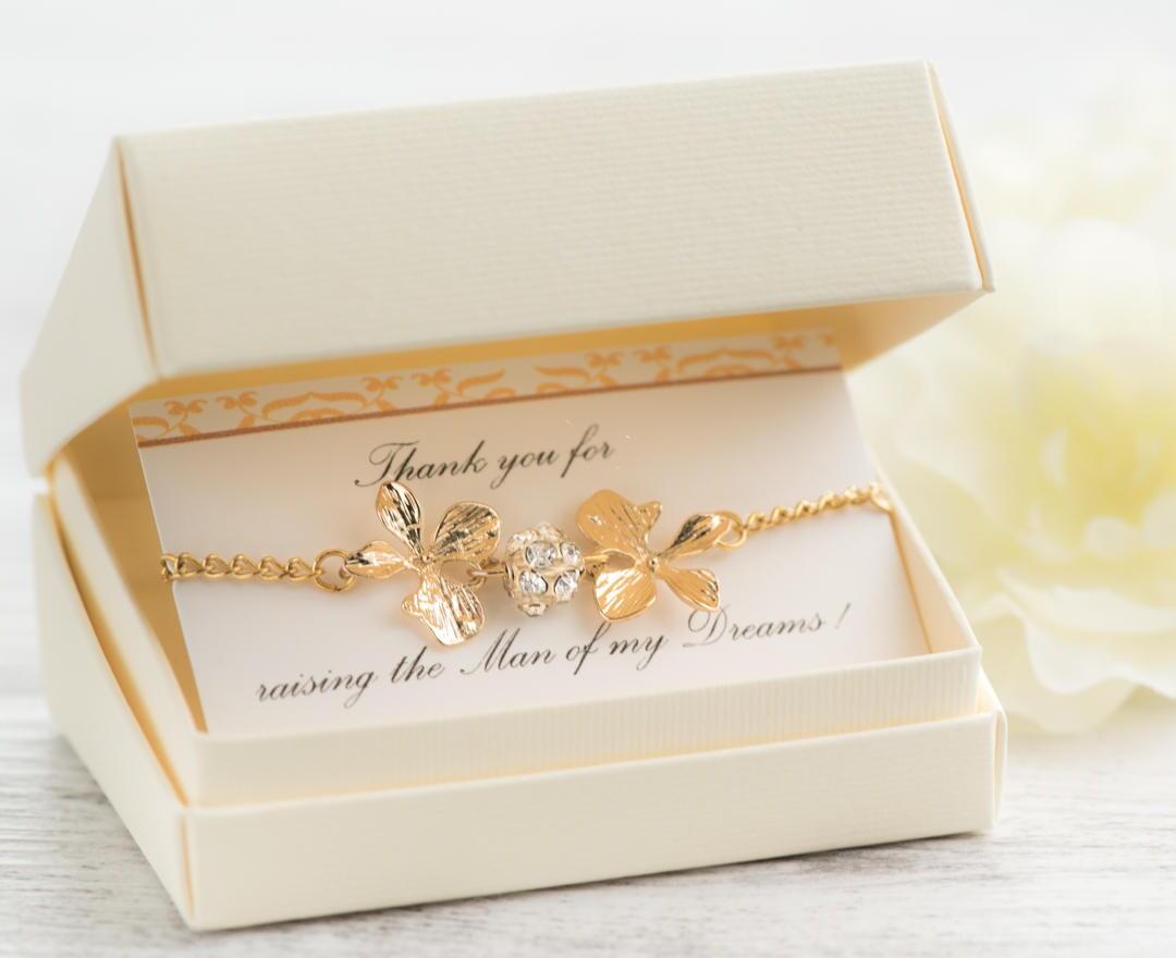 orchidee goldarmband mutter des br utigam geschenk von braut. Black Bedroom Furniture Sets. Home Design Ideas