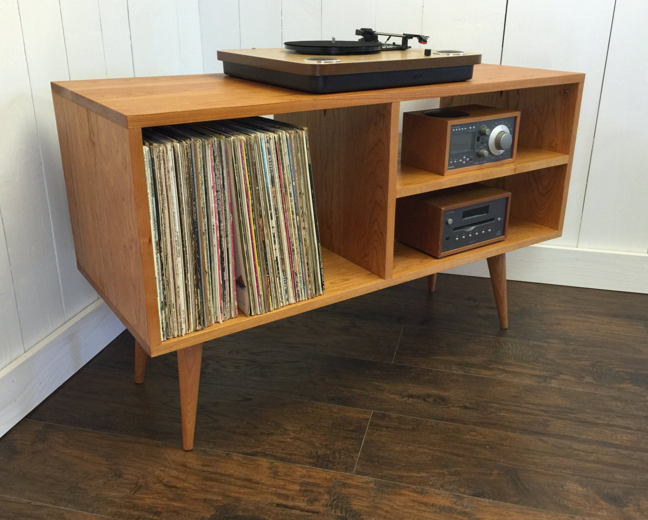 New Mid Century Modern Record Player Console Turntable ~ Oak Sofa Table With Storage